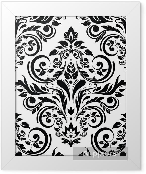 Sepia floral background Framed Poster -