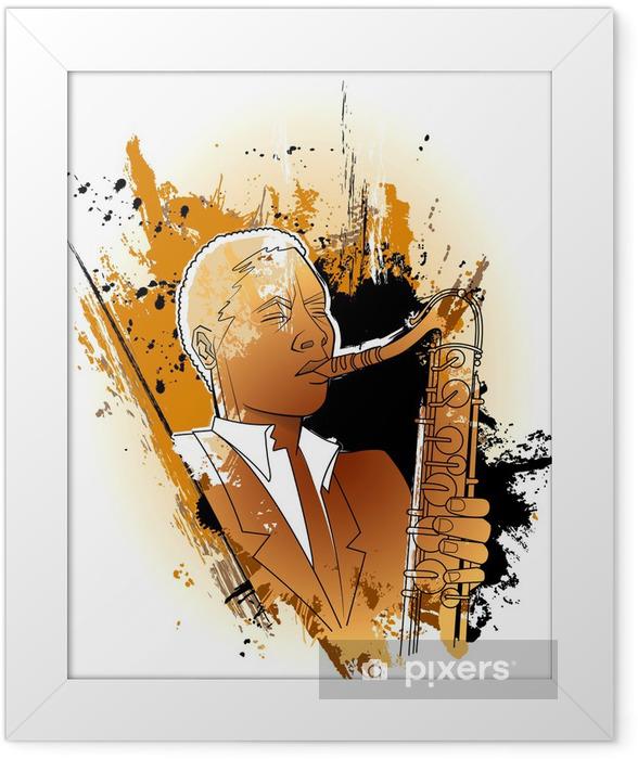 saxophonist on a grunge background Framed Poster - Entertainment