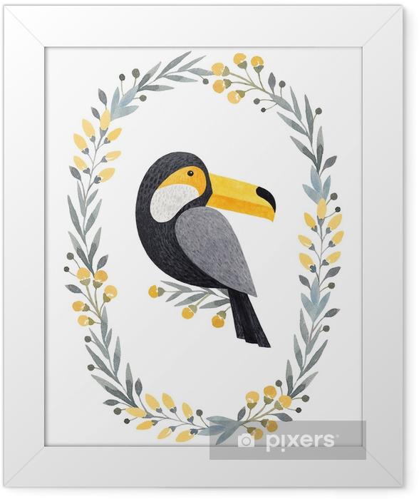 Plakat w ramie Akwarela ilustracje Tukana. idealny do kartki z życzeniami - Zasoby graficzne
