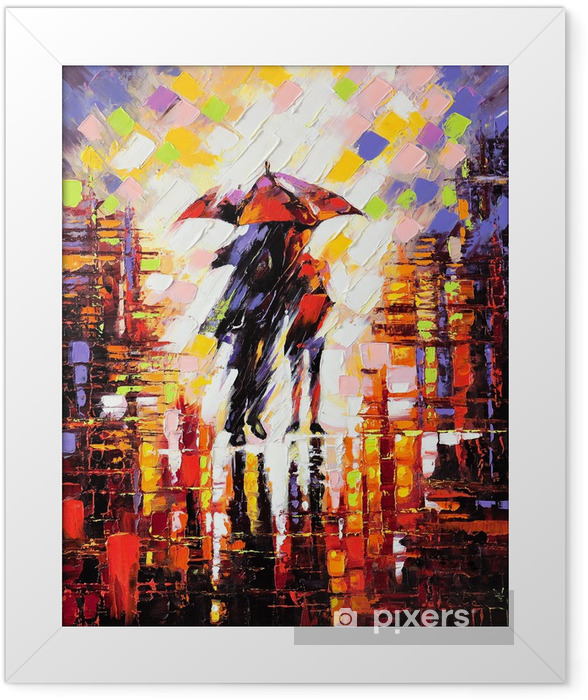 Two enamoured under an umbrella Framed Poster -