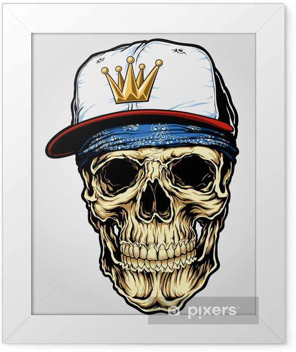 Skull with Bandana and Cap Framed Poster - Destinations