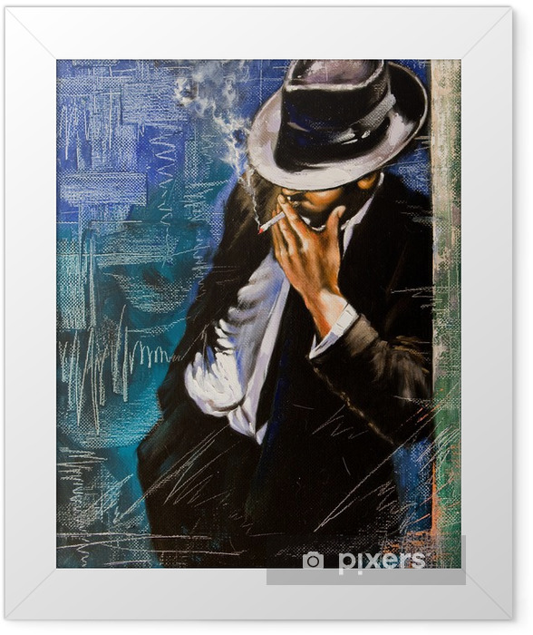 Portrait of the man with a cigarette Framed Poster - Styles