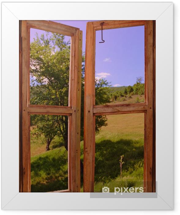 Poster en cadre Paysage vu à travers une fenêtre - Thèmes