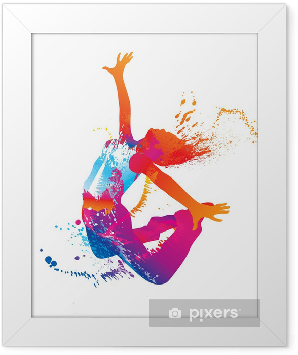 The dancing girl with colorful spots and splashes on white Framed Poster - Destinations