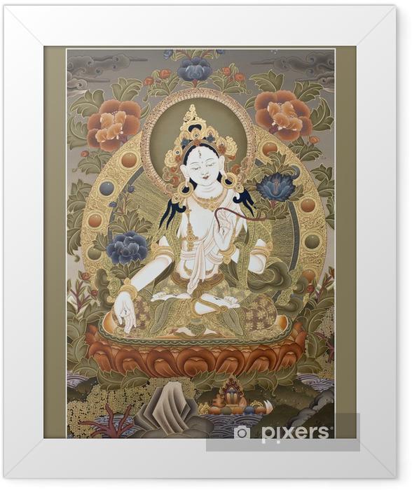 """Plakat w ramie Wewnętrzna część starożytnych tybetańskich tangka Białej Goddes TARA """" - Style"""