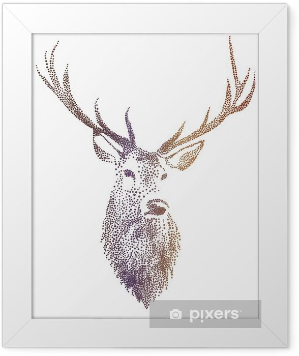 deer head, vector Framed Poster - Lifestyle
