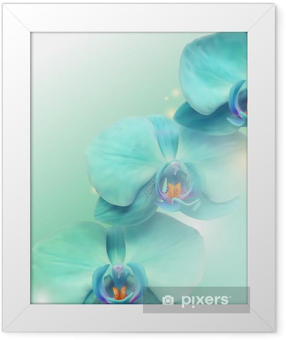Plakat w ramie Kwiat orchidei w tle - Tematy
