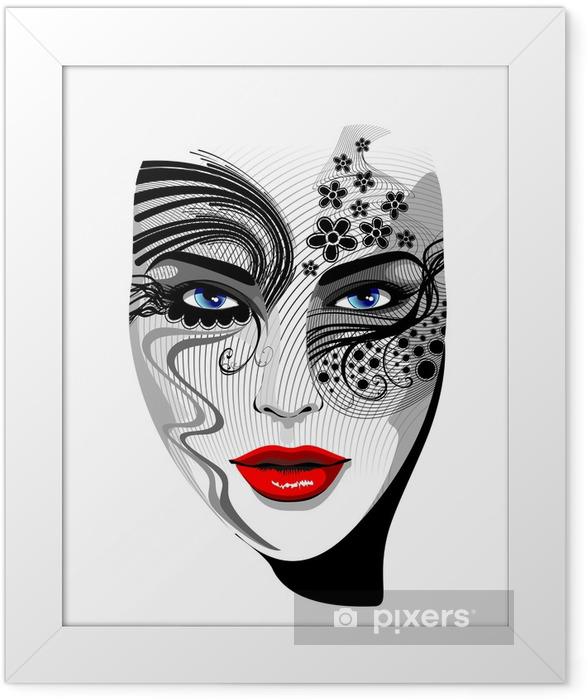 Poster en cadre Portrait de Masque Fille Tattoo-Tattoo-Vector fille - Thèmes