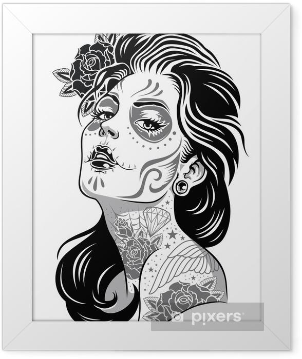 Black and White Day of Dead Girl Vector Illustration Framed Poster -