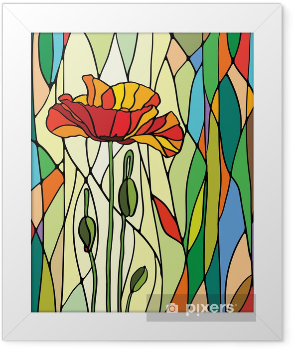 floral stained glass Framed Poster -