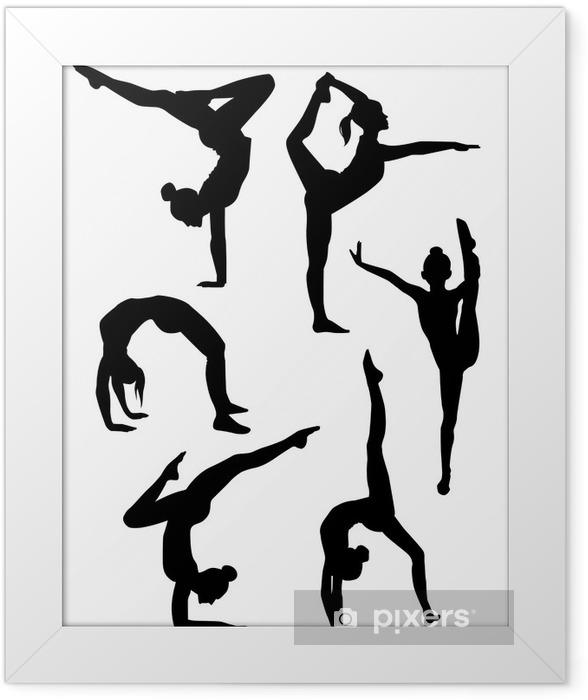 Poster en cadre Filles gymnastes silhouettes - Au travail