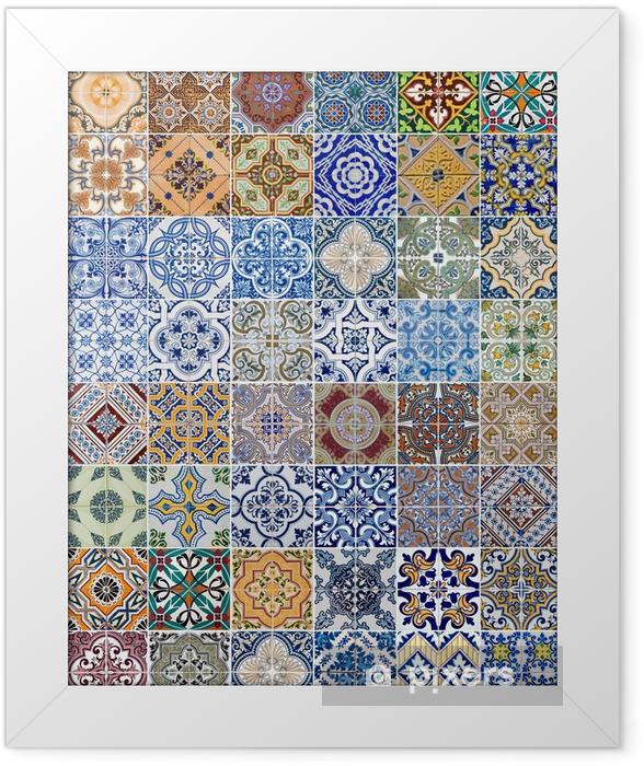 Poster en cadre Ensemble de 48 modèles de carreaux de céramique - Textures