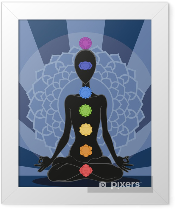 Poster en cadre Silhouette d'homme en position de yoga avec les symboles de sept chakra - Signes et symboles