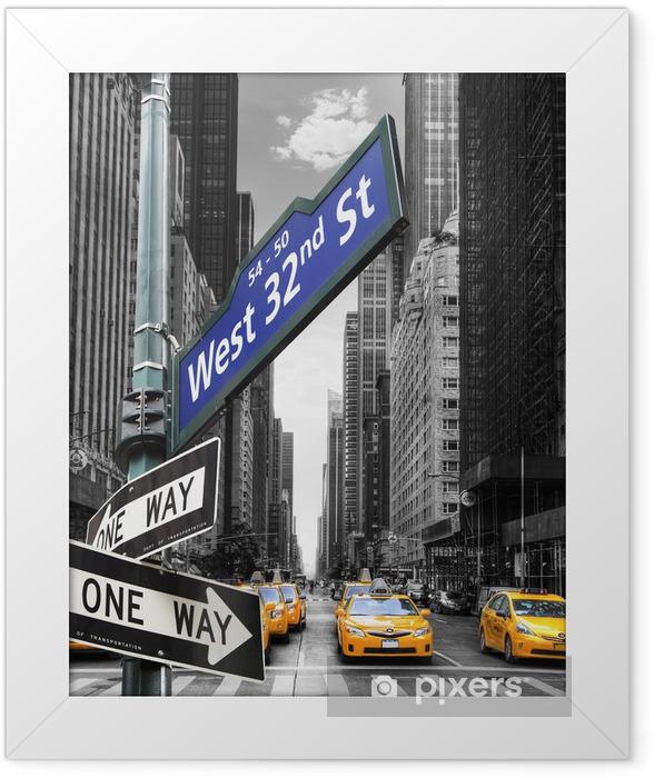 Plakat w ramie Taksówki w Nowym Jorku. -