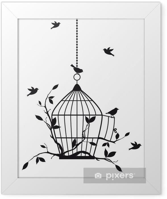 Plakat w ramie Wolne ptaki z otwartej klatce dla ptaków, wektor -