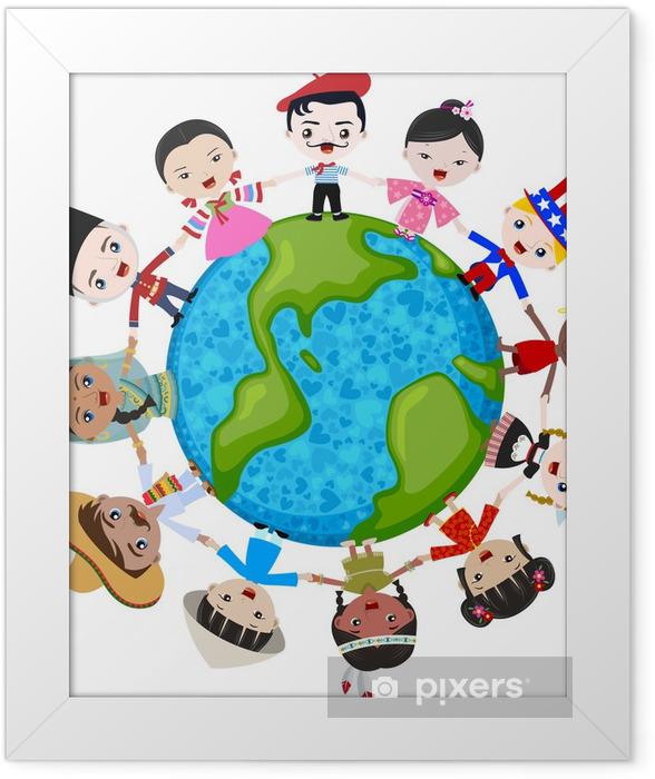 Plakat w ramie Wielokulturowe dzieci na planecie Ziemi, różnorodności kulturowej - Naklejki na ścianę