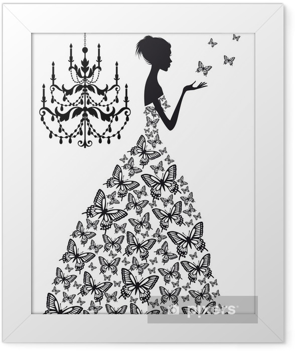 woman with butterflies, vector Framed Poster - Fashion