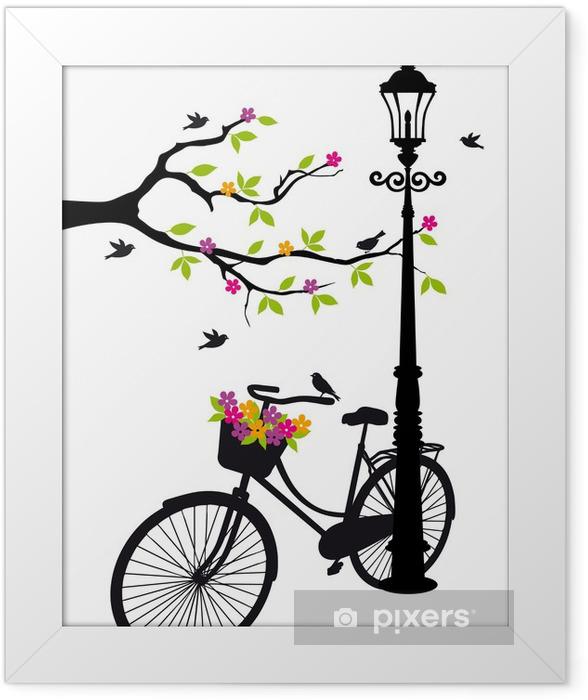 Plakat w ramie Rower z lampy, kwiaty i drzewa, wektor -