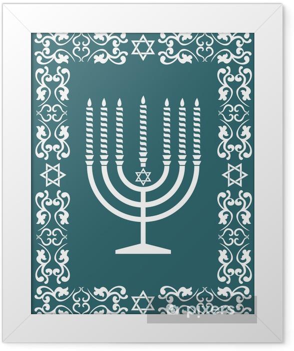 Poster en cadre Juif menorah conception, illustration vectorielle - Religion