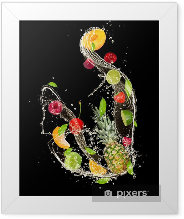 Fresh fruits falling in water splash on black background Framed Poster -