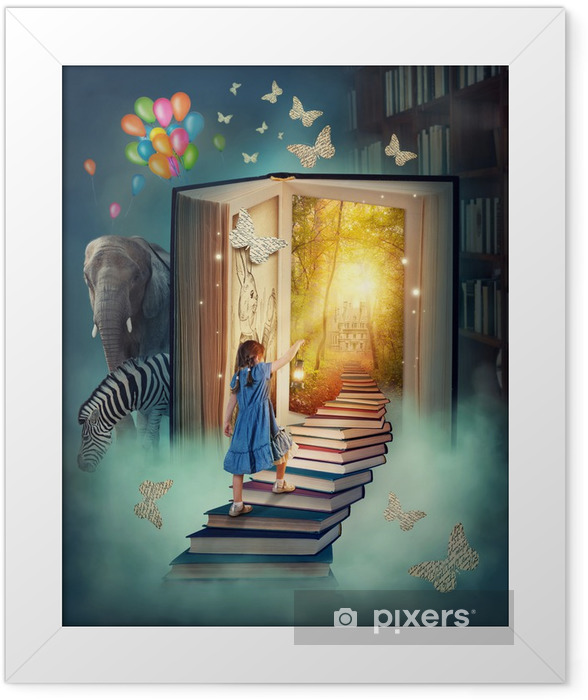 Little girl walking up stairs Framed Poster - Destinations