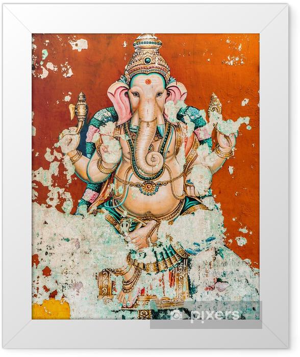 Ganesh ancient fresco Framed Poster - Religion