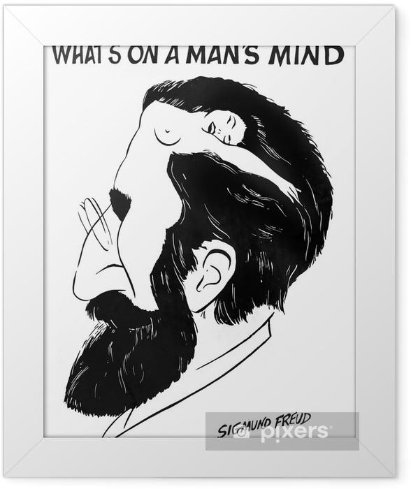 """Plakat w ramie """"Co jest w umyśle człowieka"""" przez Zygmunta Freuda - iStaging"""