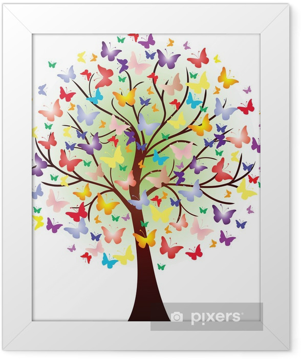 Poster en cadre Vector bel arbre de printemps, composée de papillons - Sticker mural