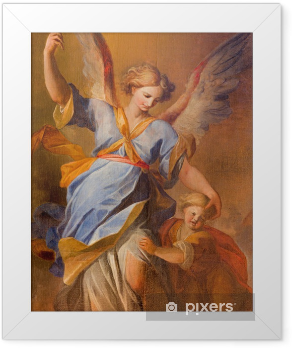 Vienna - pain of Guardian angel in baroque Jesuits church Framed Poster - Themes