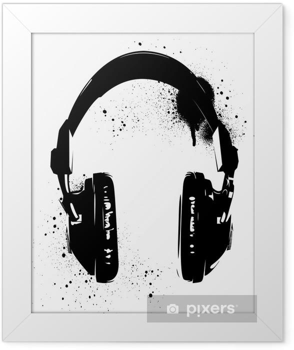 Headphones Graffiti Framed Poster - Hobbies and Leisure