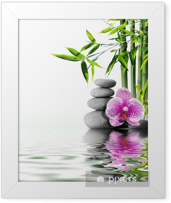 Plakat w ramie Fioletowy kwiat orchidei bambusa na koniec wodą - Style