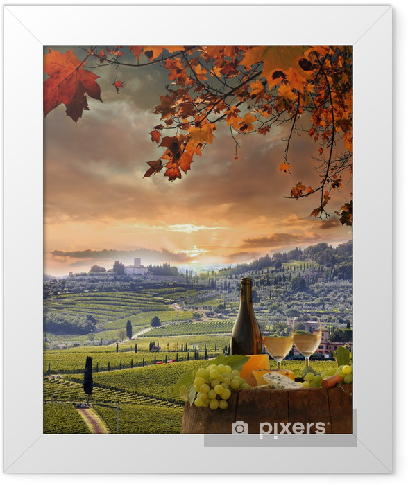 White wine with barell in vineyard, Chianti, Tuscany, Italy Framed Poster - Europe