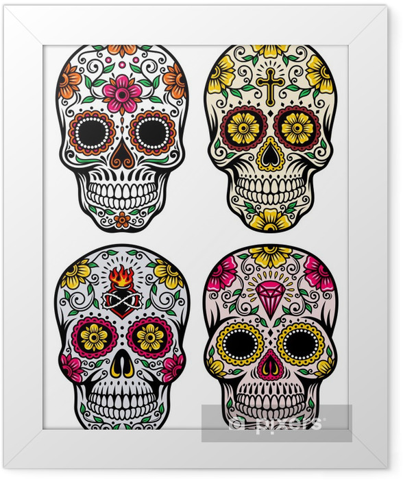 Day Of The Dead Skull Vector Set Framed Poster - Wall decals