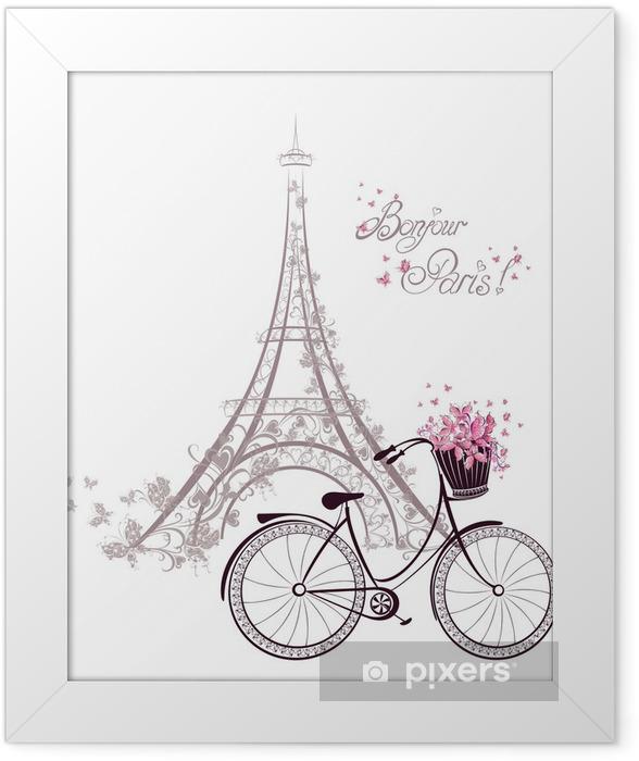 Poster en cadre Bonjour texte Paris avec la tour Eiffel et vélo -