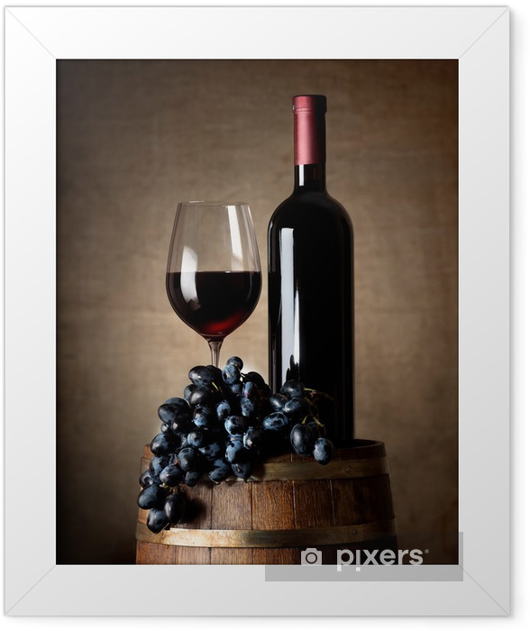 Red wine with barrel and grapes Framed Poster - Wine