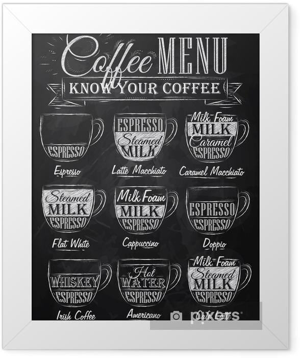Plakat w ramie Zestaw menu kawy z filiżanki kawy kredy - Do kawiarni