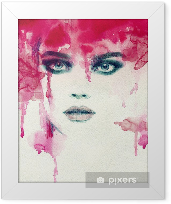 Beautiful woman. watercolor illustration Framed Poster - People