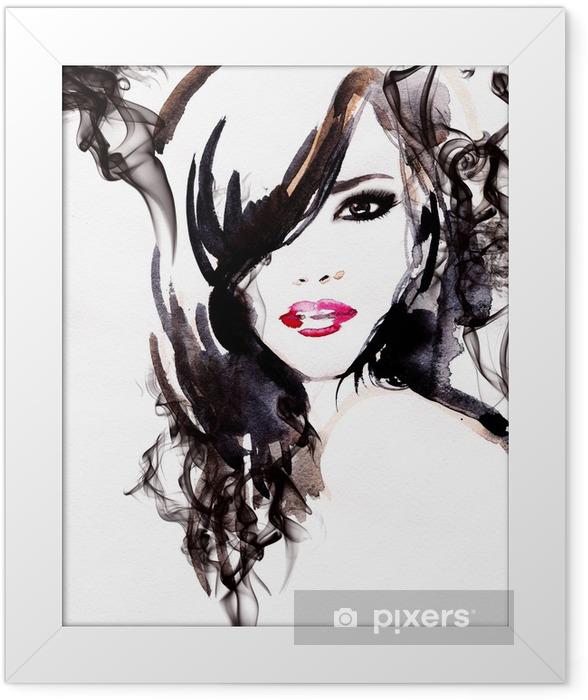 Plakat w ramie Piękna kobieto. Akwarele ilustracji - Style