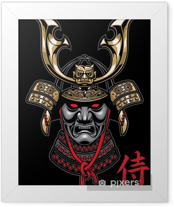 samurai helmet in detailed Framed Poster - Styles