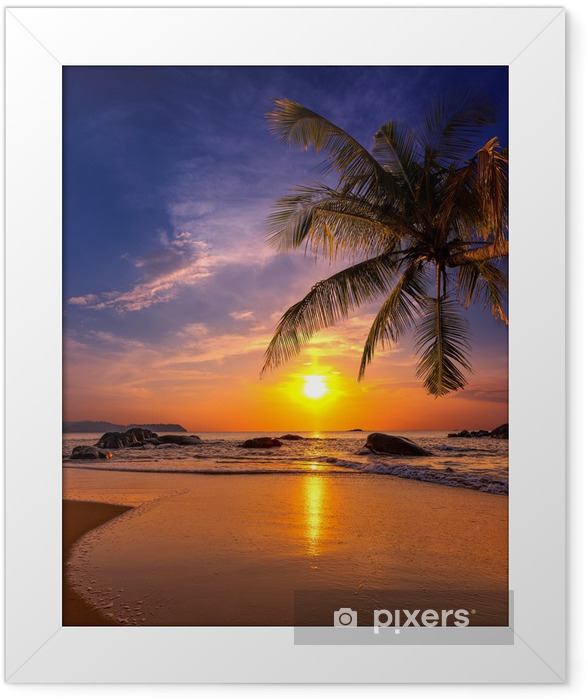 Sunset over the sea. Province Khao Lak in Thailand Framed Poster -