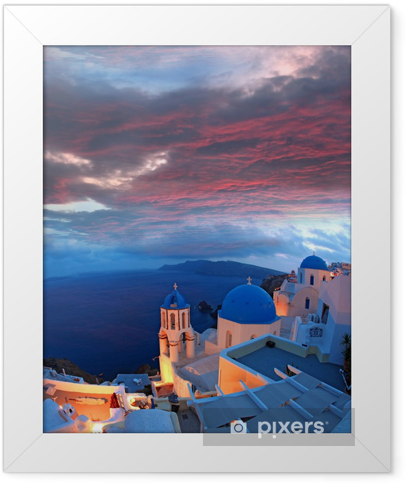 Santorini with churches and sea view in Greece Framed Poster - Themes