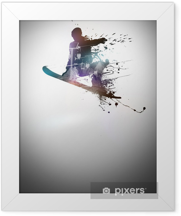 Snowboard background Framed Poster - Winter Sports