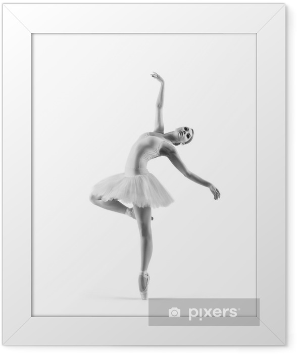 Black and white trace of a young ballet dancer Framed Poster - Individual Sports
