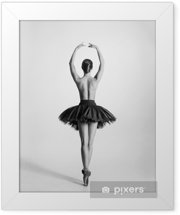 Black and white trace of a topless ballet dancer Framed Poster - Lingerie