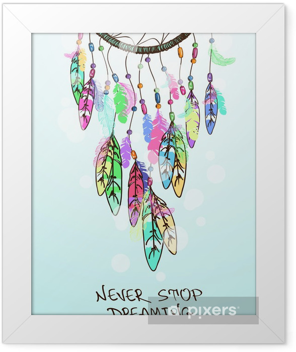 Illustration with American Indians dreamcatcher Framed Poster - Esoteric