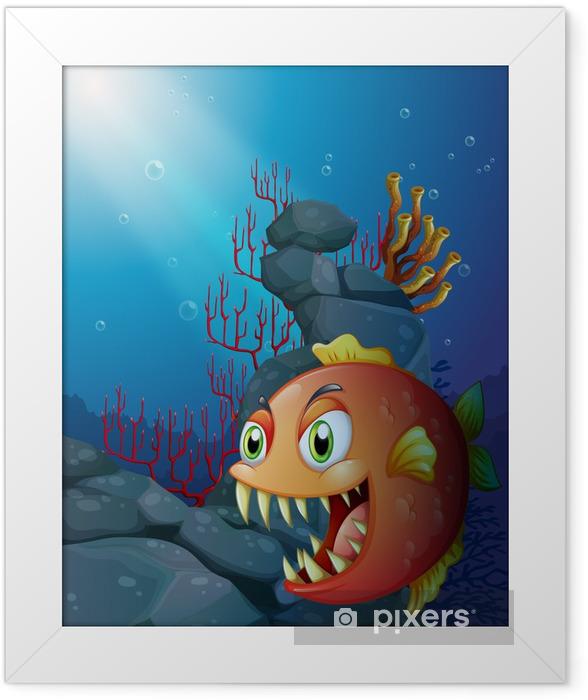 Poster en cadre Piranha effrayant sous la mer près des rochers - Animaux marins