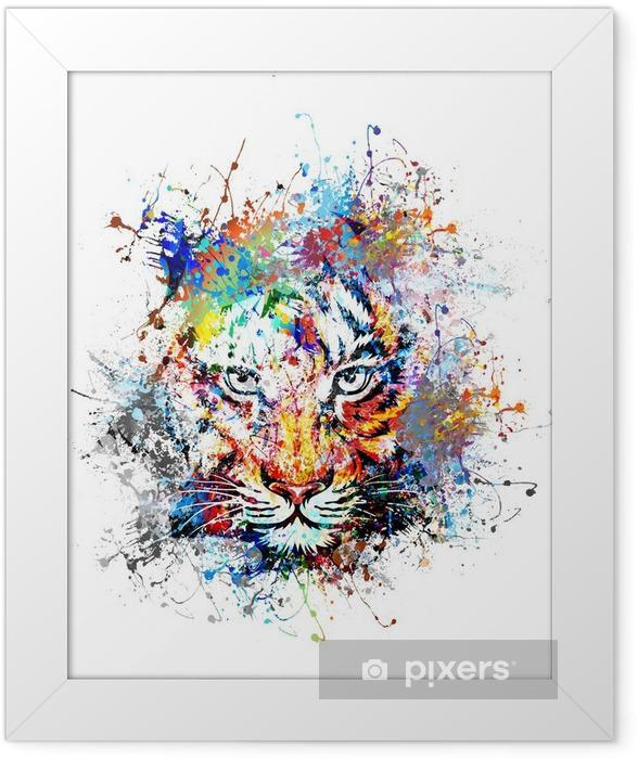 Plakat w ramie Jasne tło z tygrysem - Nauka i natura