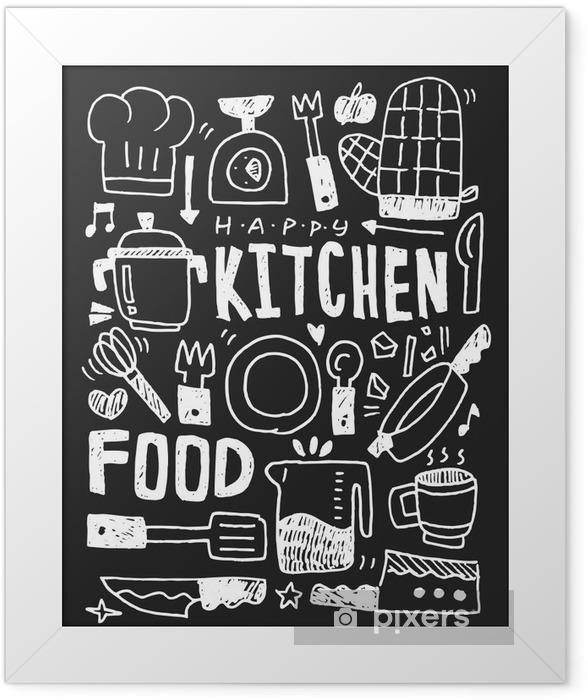 Plakat w ramie Kuchnia elementy ręcznie rysowane Doodles linia ikona, eps10 - Zasoby graficzne
