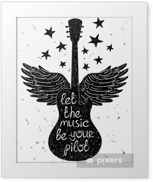 Hand drawn musical illustration with silhouettes of guitar. Framed Poster - Hobbies and Leisure