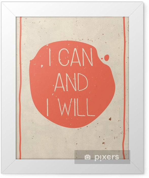 Poster with hand written quote, grunge orange background Framed Poster - Business
